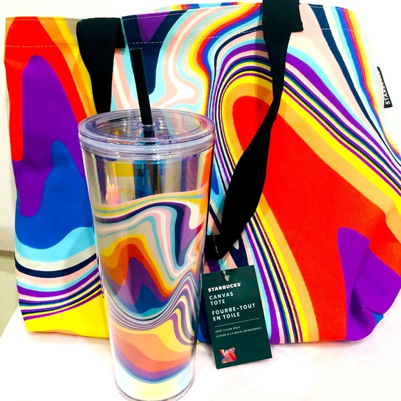 ❗️SOLD❗️ Starbucks Kaleidoscope Tote x Tumbler 2pc